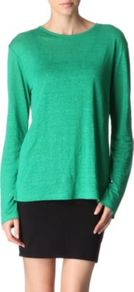 Linen And Silk Blend Top - pattern: plain; predominant colour: mint green; occasions: casual, work; length: standard; style: top; fibres: linen - mix; fit: loose; neckline: crew; sleeve length: long sleeve; sleeve style: standard; pattern type: fabric; texture group: other - light to midweight