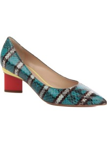 Oscar Snake Effect Court Shoes - predominant colour: turquoise; occasions: evening, work; material: leather; heel height: mid; heel: block; toe: pointed toe; style: courts; trends: striking stripes; finish: patent; pattern: animal print