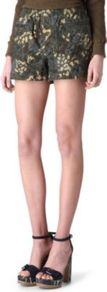 Forks Parka Shorts - style: shorts; waist detail: elasticated waist; length: short shorts; waist: mid/regular rise; predominant colour: khaki; occasions: casual, holiday; fibres: cotton - 100%; texture group: cotton feel fabrics; fit: straight leg; pattern type: fabric; pattern size: standard; pattern: patterned/print