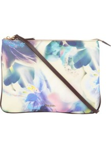 Hove Dragon Print Cross Body Bag - occasions: casual, evening, occasion, holiday; predominant colour: multicoloured; type of pattern: standard; style: shoulder; length: across body/long; size: small; material: satin; embellishment: zips; pattern: florals; trends: high impact florals; finish: fluorescent