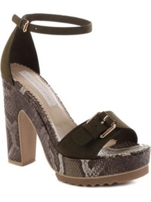 Tina Faux Suede Sandals - predominant colour: black; occasions: casual, evening, work, occasion, holiday; material: faux leather; heel height: high; embellishment: buckles; ankle detail: ankle strap; heel: platform; toe: open toe/peeptoe; style: standard; trends: statement prints; finish: plain; pattern: animal print
