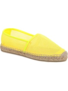 Leanne Raffia Espadrilles - predominant colour: yellow; occasions: casual, holiday; material: fabric; heel height: flat; toe: round toe; style: ballerinas / pumps; trends: fluorescent; finish: fluorescent; pattern: plain