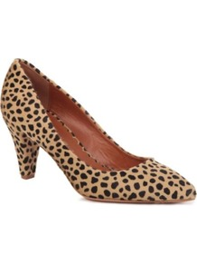 Giraffe Print Calf Hair Court Shoes - secondary colour: chocolate brown; predominant colour: camel; occasions: casual, evening, work, occasion; material: animal skin; heel height: mid; heel: cone; toe: pointed toe; style: courts; finish: plain; pattern: animal print