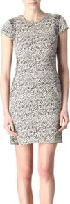 Pele Snake Wave Dress - style: shift; length: mid thigh; fit: tight; waist detail: fitted waist; predominant colour: light grey; occasions: casual, evening; fibres: polyester/polyamide - stretch; neckline: crew; sleeve length: short sleeve; sleeve style: standard; pattern type: fabric; pattern size: small & busy; pattern: patterned/print; texture group: jersey - stretchy/drapey
