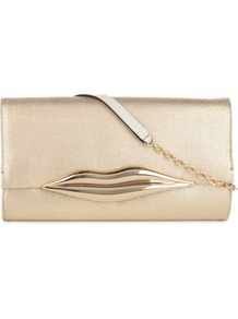 Carolina Lip Clutch - predominant colour: gold; occasions: evening; style: clutch; length: hand carry; size: small; pattern: plain; finish: metallic