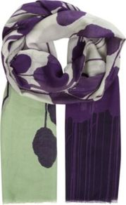 Hanovar Printed Scarf - predominant colour: purple; secondary colour: pistachio; occasions: casual, work; type of pattern: large; style: regular; size: standard; material: fabric; pattern: patterned/print