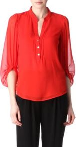 Syrah Top - pattern: plain; sleeve style: balloon; style: blouse; bust detail: buttons at bust (in middle at breastbone)/zip detail at bust; predominant colour: true red; occasions: casual, evening, work; length: standard; neckline: mandarin with v-neck; fibres: silk - 100%; fit: body skimming; sleeve length: 3/4 length; texture group: silky - light; pattern type: fabric