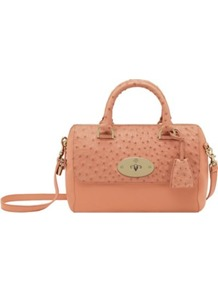 Del Rey Small Calf And Ostrich Bag - predominant colour: nude; occasions: casual, evening, work, occasion, holiday; type of pattern: light; style: bowling; length: handle; size: small; material: animal skin; pattern: plain; finish: plain