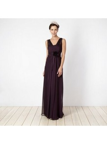 Purple Ruched Georgette Bandeau Maxi Dress - neckline: low v-neck; fit: fitted at waist; pattern: plain; sleeve style: sleeveless; style: maxi dress; waist detail: embellishment at waist/feature waistband; bust detail: ruching/gathering/draping/layers/pintuck pleats at bust; predominant colour: purple; occasions: evening, occasion; length: floor length; fibres: polyester/polyamide - stretch; hip detail: soft pleats at hip/draping at hip/flared at hip; sleeve length: sleeveless; texture group: sheer fabrics/chiffon/organza etc.; pattern type: fabric; embellishment: corsage