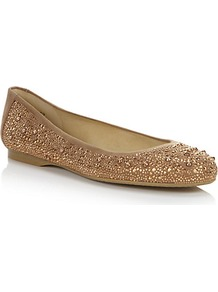 Nubeads Embellished Flats - predominant colour: bronze; occasions: casual, evening, work, holiday; material: suede; heel height: flat; embellishment: studs; toe: round toe; style: ballerinas / pumps; trends: metallics; finish: metallic; pattern: plain