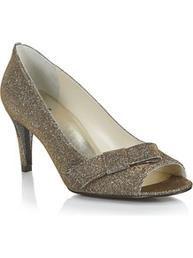 Bowover Peep Toe Courts Matt Gold - predominant colour: gold; occasions: evening, occasion; material: fabric; heel height: mid; embellishment: glitter; heel: stiletto; toe: open toe/peeptoe; style: courts; trends: metallics; finish: metallic; pattern: plain