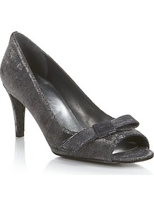 Bowover Peep Toe Courts Grey - predominant colour: charcoal; occasions: evening, occasion; material: fabric; heel height: mid; embellishment: glitter; heel: stiletto; toe: open toe/peeptoe; style: courts; trends: metallics; finish: metallic; pattern: plain