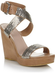 Metalmania Sandal Wedges - predominant colour: tan; occasions: casual, evening, occasion, holiday; material: leather; heel height: high; embellishment: sequins; ankle detail: ankle strap; heel: wedge; toe: open toe/peeptoe; style: strappy; trends: metallics; finish: plain; pattern: plain