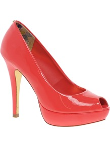 Svana 5 Peep Toe Court Shoes - predominant colour: bright orange; occasions: evening, occasion; material: leather; heel height: high; heel: platform; toe: open toe/peeptoe; style: courts; finish: patent; pattern: plain