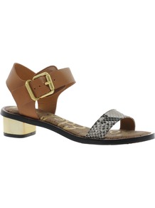 Trina Heeled Sandals - predominant colour: tan; occasions: casual, holiday; material: leather; heel height: mid; embellishment: buckles; ankle detail: ankle strap; heel: block; toe: open toe/peeptoe; style: standard; finish: plain; pattern: animal print