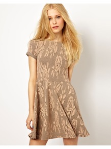 Jacquard Skater Dress - length: mid thigh; neckline: round neck; waist detail: fitted waist; predominant colour: camel; occasions: casual, holiday; fit: fitted at waist &amp; bust; style: fit &amp; flare; fibres: polyester/polyamide - stretch; hip detail: soft pleats at hip/draping at hip/flared at hip; sleeve length: short sleeve; sleeve style: standard; texture group: ornate wovens; pattern type: fabric; pattern size: standard; pattern: florals
