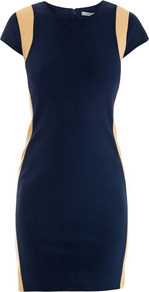 Pele Dress - style: shift; length: mid thigh; sleeve style: capped; pattern: plain; waist detail: fitted waist; predominant colour: navy; secondary colour: nude; occasions: evening, occasion; fit: body skimming; fibres: polyester/polyamide - stretch; neckline: crew; sleeve length: short sleeve; texture group: jersey - stretchy/drapey