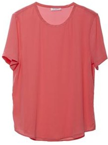 Riley Tee In Watermelon - neckline: round neck; pattern: plain; length: below the bottom; style: t-shirt; predominant colour: pink; occasions: casual, evening, work, holiday; fibres: silk - 100%; fit: loose; sleeve length: short sleeve; sleeve style: standard; pattern type: fabric; pattern size: standard; texture group: jersey - stretchy/drapey
