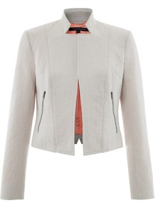Natsue Jacket - pattern: plain; style: single breasted blazer; bust detail: added detail/embellishment at bust; collar: standard lapel/rever collar; predominant colour: light grey; occasions: casual, evening, work, holiday; length: standard; fit: tailored/fitted; fibres: polyester/polyamide - mix; back detail: back vent/flap at back; sleeve length: long sleeve; sleeve style: standard; texture group: cotton feel fabrics; collar break: low/open; pattern type: fabric; embellishment: quilted