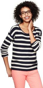 Striped Roll Edge Sweater - neckline: round neck; pattern: horizontal stripes; style: standard; predominant colour: navy; occasions: casual; length: standard; fibres: cotton - 100%; fit: standard fit; sleeve length: long sleeve; sleeve style: standard; texture group: knits/crochet; pattern type: fabric; pattern size: standard