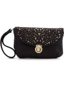 Black Baroque Cut Out Wristlet - predominant colour: black; occasions: evening, occasion, holiday; type of pattern: light; style: clutch; length: handle; size: standard; material: faux leather; embellishment: embroidered; finish: plain; pattern: patterned/print
