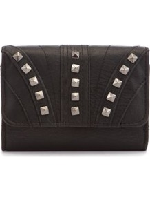 Black Stud Flap Purse - predominant colour: black; occasions: evening, occasion; type of pattern: small; style: clutch; length: hand carry; size: small; material: faux leather; embellishment: studs; pattern: plain; finish: plain