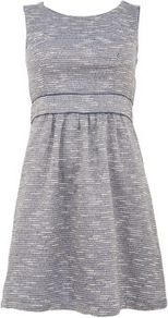 Blue Boucle Skater Dress - length: mid thigh; pattern: plain; sleeve style: sleeveless; waist detail: fitted waist; predominant colour: light grey; occasions: casual; fit: fitted at waist & bust; style: fit & flare; fibres: cotton - stretch; neckline: crew; sleeve length: sleeveless; texture group: jersey - stretchy/drapey