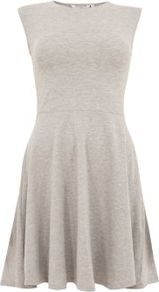 Grey Cap Sleeve Skater Dress - pattern: plain; sleeve style: sleeveless; waist detail: fitted waist; predominant colour: light grey; occasions: casual; length: just above the knee; fit: fitted at waist & bust; style: fit & flare; fibres: cotton - stretch; neckline: crew; sleeve length: sleeveless; texture group: jersey - stretchy/drapey