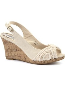 Cream Crochet Cork Wedges - predominant colour: ivory; occasions: casual, holiday; material: fabric; heel height: mid; embellishment: embroidered; heel: wedge; toe: open toe/peeptoe; style: slingbacks; finish: plain; pattern: plain