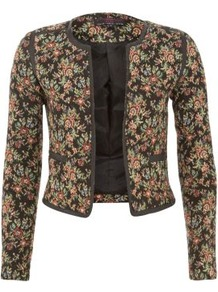 Black Floral Tapestry Jacket - style: single breasted blazer; collar: round collar/collarless; length: below the bottom; occasions: casual, evening; fit: tailored/fitted; fibres: polyester/polyamide - mix; predominant colour: multicoloured; sleeve length: long sleeve; sleeve style: standard; trends: high impact florals; collar break: high; pattern type: fabric; pattern size: small & busy; pattern: florals; texture group: woven bulky/heavy