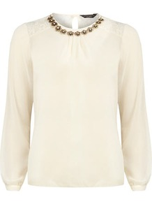 Ivory Necklace Trim Top - pattern: plain; style: blouse; shoulder detail: contrast pattern/fabric at shoulder; back detail: contrast pattern/fabric at back; predominant colour: ivory; occasions: casual, evening, work; length: standard; fibres: polyester/polyamide - 100%; fit: straight cut; neckline: crew; sleeve length: long sleeve; sleeve style: standard; texture group: sheer fabrics/chiffon/organza etc.; pattern type: fabric; embellishment: lace