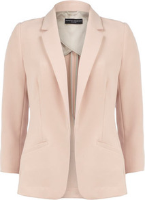 Blush Longline Blazer - pattern: plain; style: single breasted blazer; collar: standard lapel/rever collar; predominant colour: blush; occasions: evening, work, occasion, holiday; length: standard; fit: tailored/fitted; fibres: viscose/rayon - stretch; sleeve length: 3/4 length; sleeve style: standard; collar break: low/open; pattern type: fabric; texture group: woven light midweight