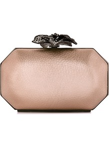 Luna Embellished Flower Clasp Clutch - predominant colour: gold; occasions: evening, occasion; type of pattern: standard; style: clutch; length: hand carry; size: small; material: leather; embellishment: crystals; pattern: plain; trends: metallics; finish: metallic