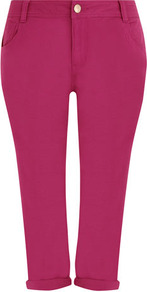 Pink Cropped Jeans - style: skinny leg; pattern: plain; pocket detail: traditional 5 pocket; length: below the knee; waist: mid/regular rise; predominant colour: hot pink; occasions: casual, holiday; fibres: cotton - stretch; jeans & bottoms detail: turn ups; texture group: denim; pattern type: fabric