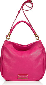 Fuchsia Leather Hobo Bag - predominant colour: hot pink; occasions: casual, work; style: shoulder; length: shoulder (tucks under arm); size: standard; material: leather; pattern: plain; finish: plain