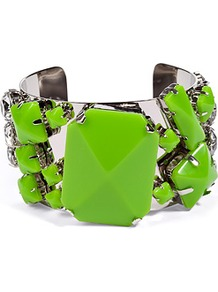 Spring Green Quilcina Bangle - predominant colour: emerald green; occasions: casual, evening, work, occasion; style: cuff; size: large/oversized; material: chain/metal; trends: fluorescent; finish: plain; embellishment: jewels