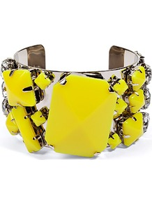 Neon Yellow Quilcina Bangle - predominant colour: yellow; occasions: casual, evening, work, occasion; style: cuff; size: large/oversized; material: chain/metal; trends: fluorescent; finish: fluorescent; embellishment: jewels