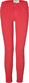 Red Coral Stiletto Jeans - style: skinny leg; length: standard; pattern: plain; waist: low rise; pocket detail: traditional 5 pocket; predominant colour: true red; occasions: casual; fibres: cotton - stretch; texture group: denim; pattern type: fabric