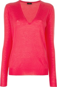V Neck Jumper - neckline: low v-neck; pattern: plain; style: standard; predominant colour: coral; occasions: casual, work; length: standard; fit: standard fit; fibres: cashmere - 100%; sleeve length: long sleeve; sleeve style: standard; texture group: knits/crochet; pattern type: knitted - fine stitch; pattern size: standard