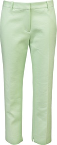 Cropped Pencil Trouser - pattern: plain; pocket detail: pockets at the sides; waist: mid/regular rise; predominant colour: pistachio; occasions: casual, evening, work; length: ankle length; fibres: cotton - mix; waist detail: narrow waistband; texture group: crepes; fit: skinny/tight leg; pattern type: fabric; pattern size: standard; style: standard