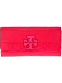 Logo Clutch - predominant colour: hot pink; occasions: evening, occasion; type of pattern: light; style: clutch; length: hand carry; size: small; material: leather; embellishment: applique; pattern: plain; finish: plain