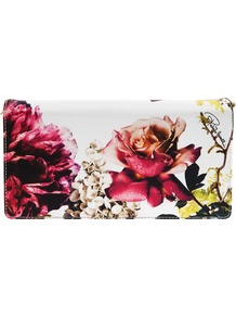 'Small Floral Pochette Clutch' - occasions: evening, occasion; predominant colour: multicoloured; type of pattern: heavy; style: clutch; length: hand carry; size: standard; material: leather; pattern: florals; trends: high impact florals; finish: plain
