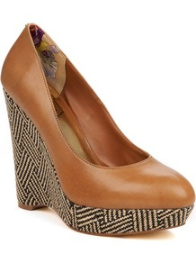 Ted Baker Brandee Wedge Platform Heel - predominant colour: tan; occasions: casual, evening, work; material: leather; heel height: high; heel: wedge; toe: round toe; style: courts; finish: plain; pattern: patterned/print