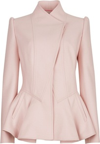 Ted Baker Wrenn Wool Peplum Jacket - pattern: plain; style: single breasted blazer; length: below the bottom; collar: high neck; predominant colour: blush; occasions: casual, evening, work, occasion; fit: tailored/fitted; fibres: wool - mix; waist detail: peplum detail at waist; shoulder detail: structured/bulky pleats/bulky detail at shoulder; sleeve length: long sleeve; sleeve style: standard; trends: volume; hip detail: ruffles/tiers/tie detail at hip; collar break: high; pattern type: fabric; pattern size: standard; texture group: woven bulky/heavy