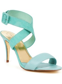 Ted Baker Jolea Buckle Heeled Sandal - predominant colour: pale blue; occasions: evening, work, occasion, holiday; material: leather; heel height: high; embellishment: buckles; ankle detail: ankle strap; heel: stiletto; toe: open toe/peeptoe; style: strappy; finish: plain; pattern: plain