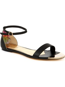 Ted Baker Ballena Flat Leather Sandals - predominant colour: black; occasions: casual, evening, work, holiday; material: leather; heel height: flat; ankle detail: ankle strap; heel: standard; toe: open toe/peeptoe; style: strappy; finish: plain; pattern: plain