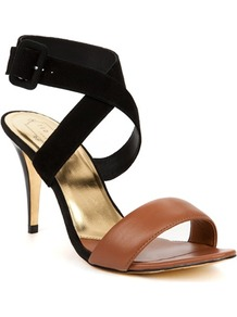 Ted Baker Jolea Buckle Heeled Sandal - predominant colour: tan; occasions: evening, work, occasion, holiday; material: leather; heel height: high; embellishment: buckles; ankle detail: ankle strap; heel: stiletto; toe: open toe/peeptoe; style: strappy; finish: plain; pattern: colourblock