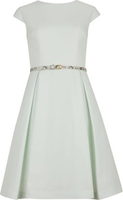 Ted Baker Ladi Full Skirt Belted Dress - neckline: round neck; sleeve style: capped; pattern: plain; style: full skirt; back detail: low cut/open back; waist detail: belted waist/tie at waist/drawstring; predominant colour: pistachio; occasions: evening, occasion; length: just above the knee; fit: fitted at waist &amp; bust; fibres: polyester/polyamide - 100%; hip detail: structured pleats at hip; sleeve length: short sleeve; trends: volume; pattern type: fabric; texture group: woven light midweight