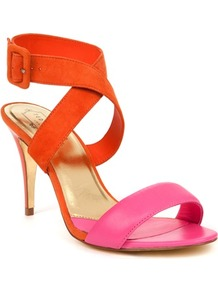 Ted Baker Jolea Buckle Heeled Sandal - predominant colour: bright orange; occasions: evening, work, occasion, holiday; material: leather; heel height: high; embellishment: buckles; ankle detail: ankle strap; heel: stiletto; toe: open toe/peeptoe; style: strappy; trends: fluorescent; finish: plain; pattern: colourblock