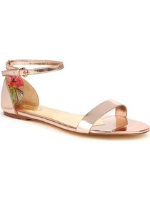 Ted Baker Ballena Flat Leather Sandals - predominant colour: blush; occasions: casual, evening, work, holiday; material: leather; heel height: flat; ankle detail: ankle strap; heel: standard; toe: open toe/peeptoe; style: gladiators; trends: metallics; finish: patent; pattern: plain